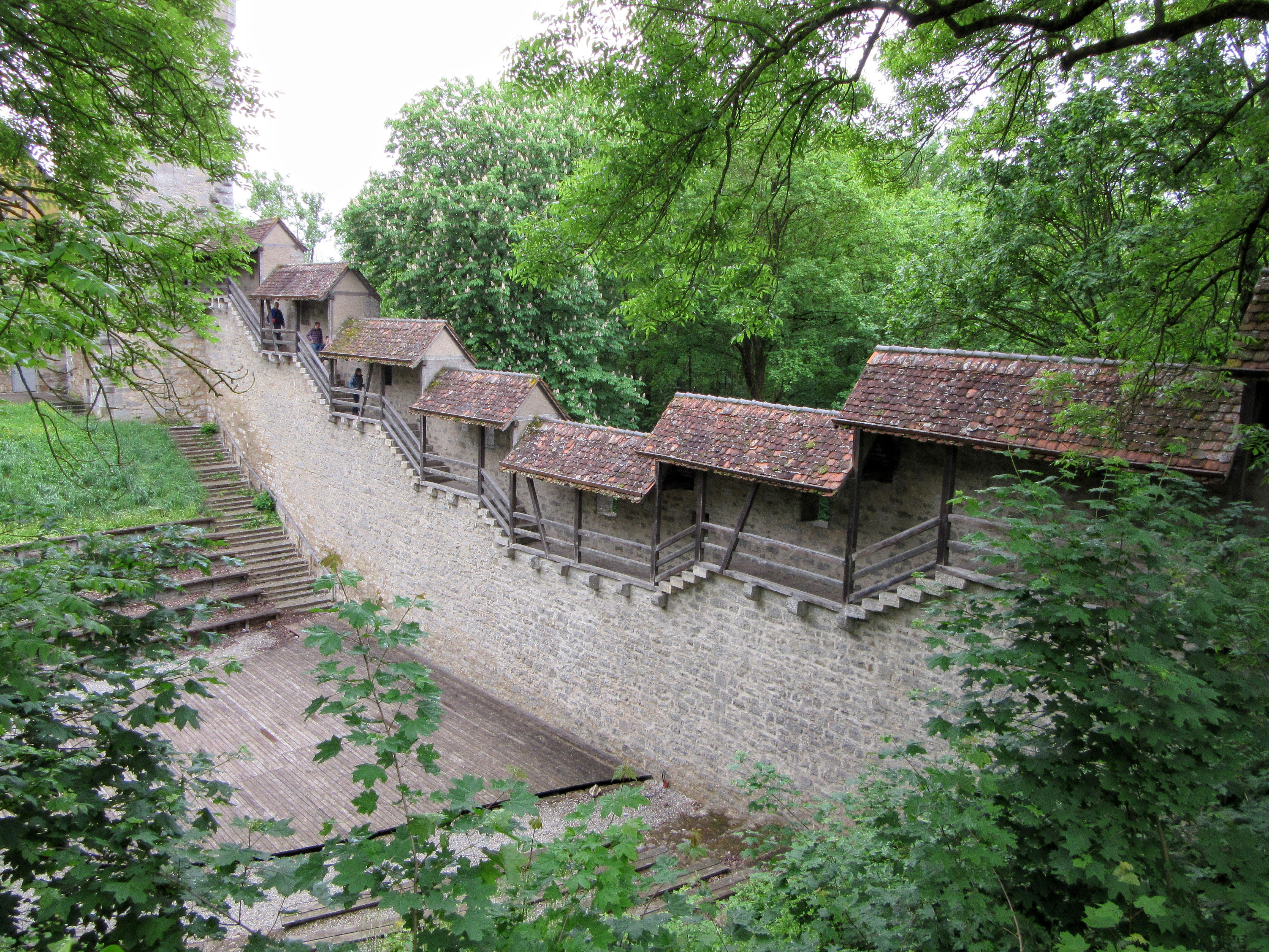 An outdoor theater area. | Walking Along the Wall of Rothenburg ob der Tauber.