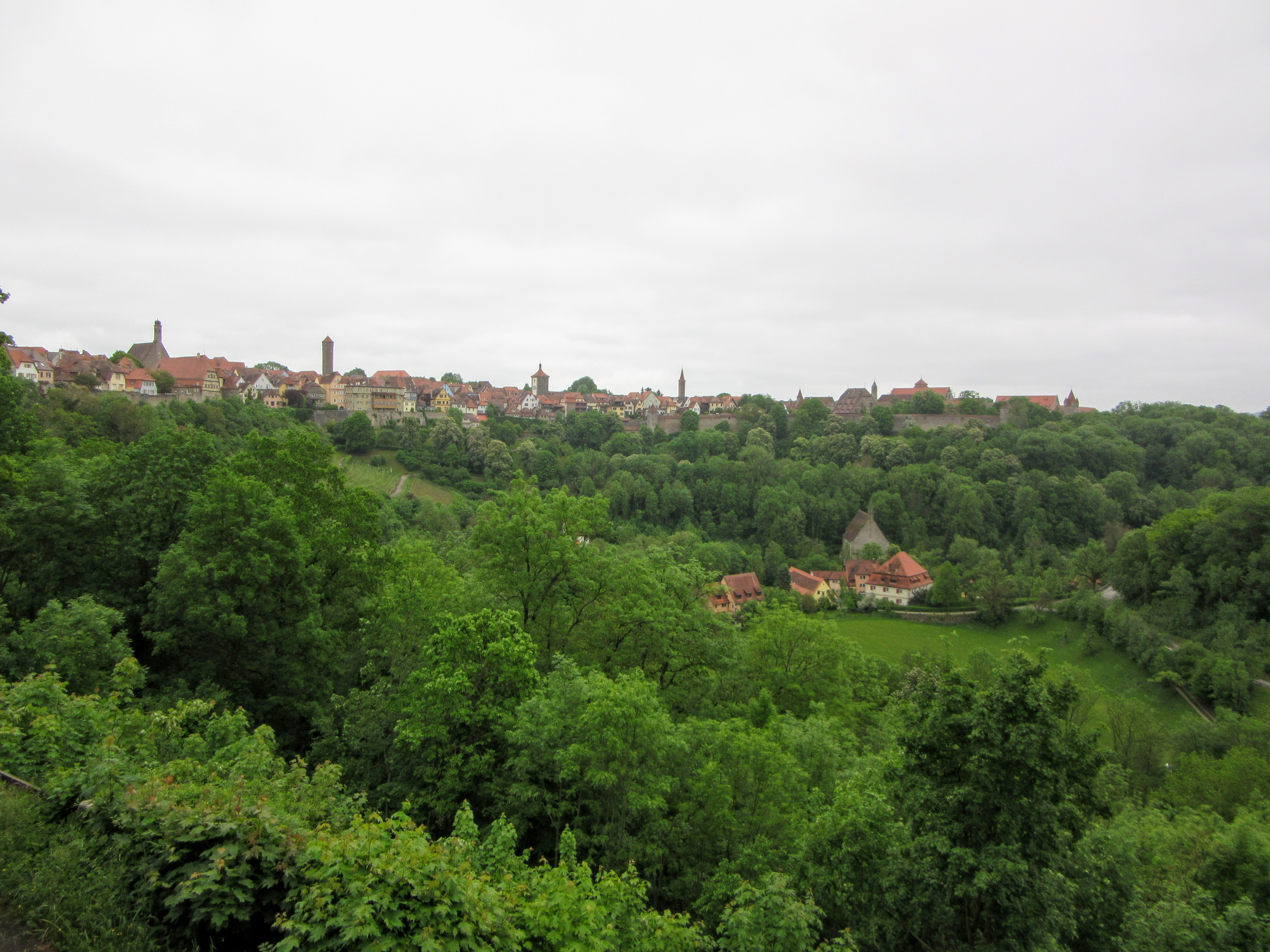 View of Rothenburg from the Burggarten. | Walking Along the Wall of Rothenburg ob der Tauber.
