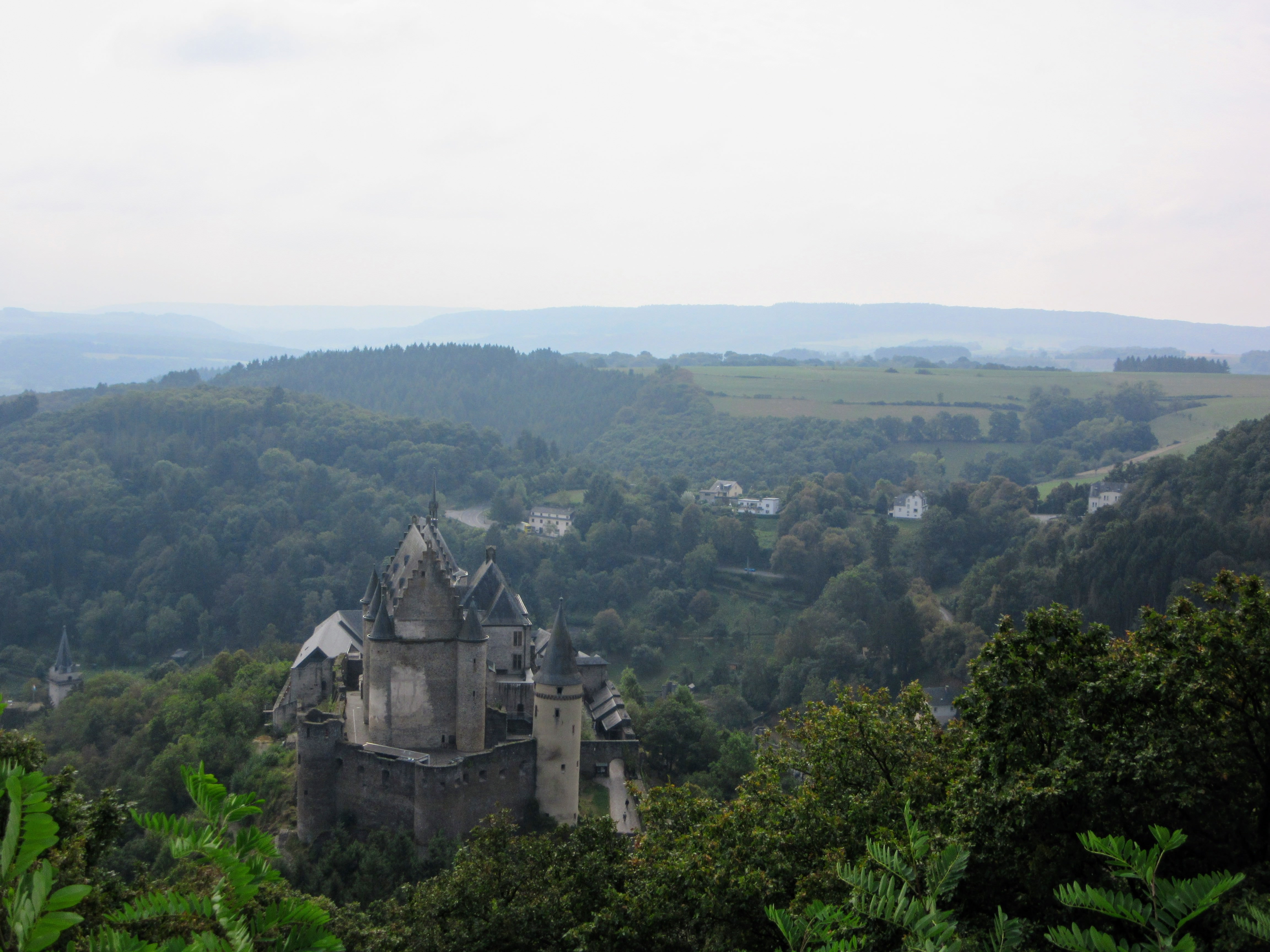 Vianden Castle and countryside in Luxembourg.