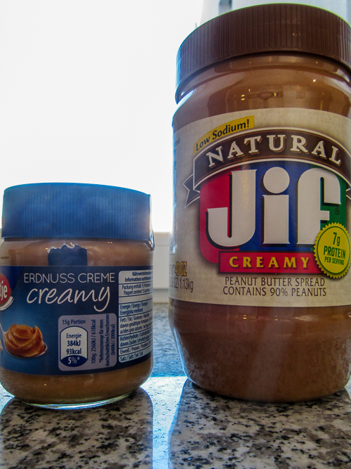German vs. American peanut butter sizes. | Going Grocery Shopping in Germany.