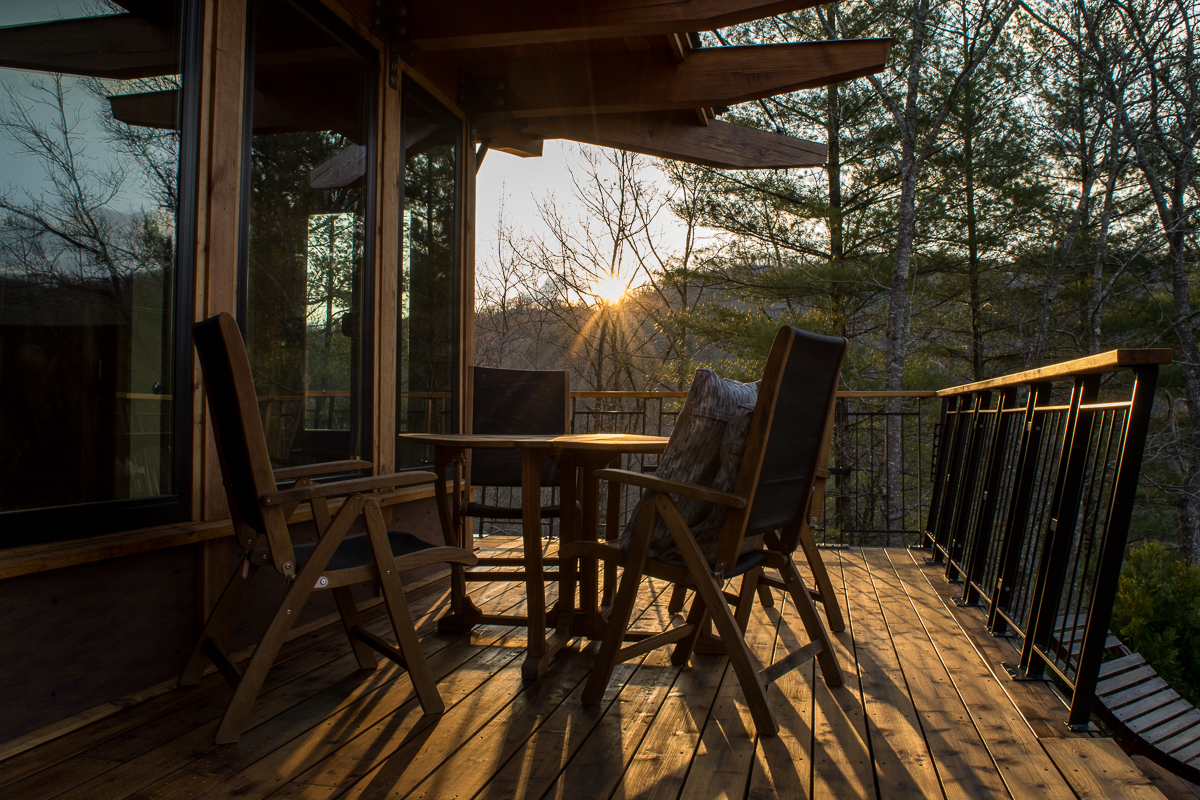 Sunrise on the patio. | The Stecoah House - a Luxury Cabin Rental in North Carolina.