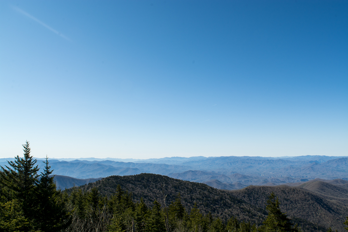View from the parking lot. | Visiting Clingmans Dome and Observation Tower in North Carolina.