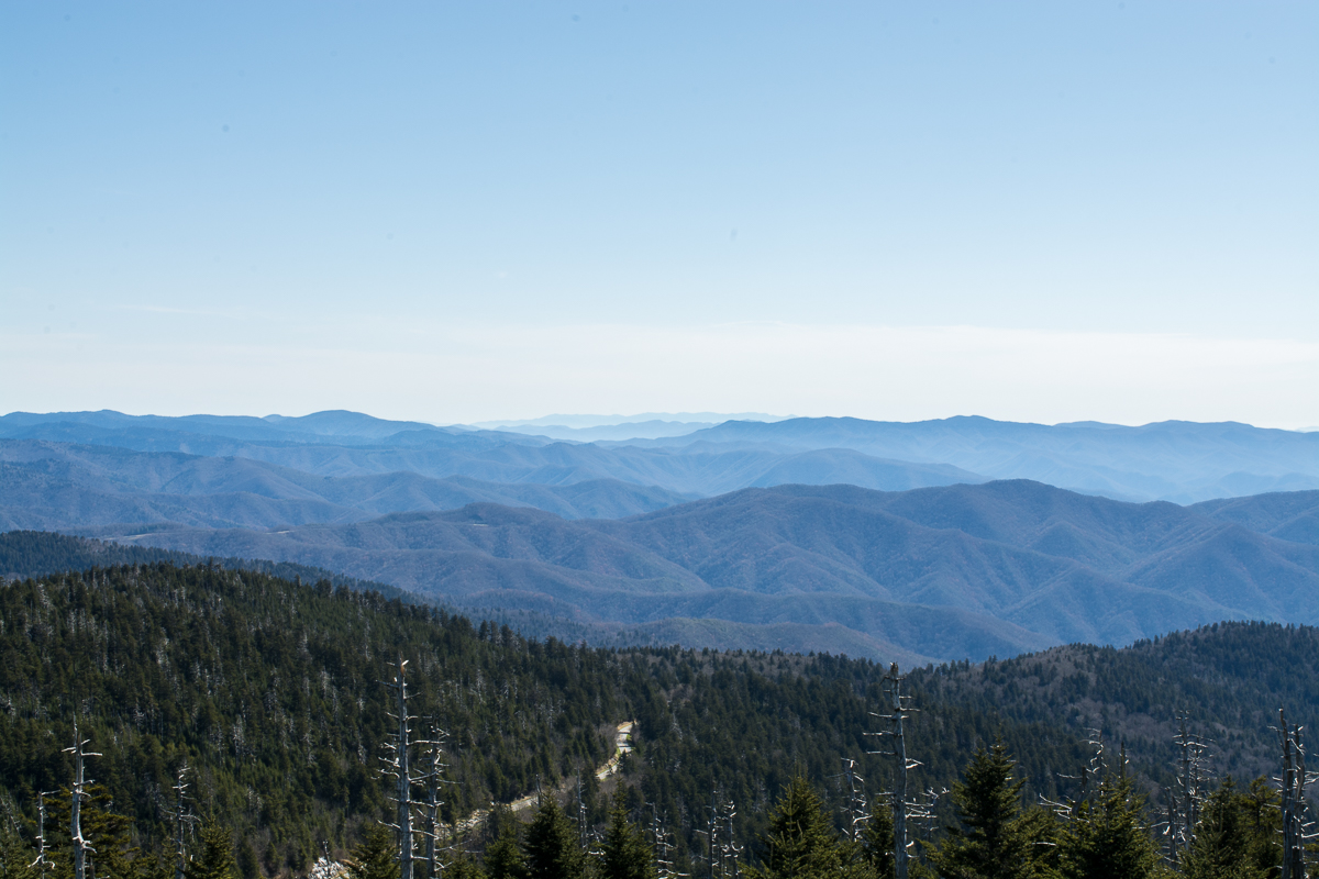Visiting Clingmans Dome and Observation Tower in North Carolina.