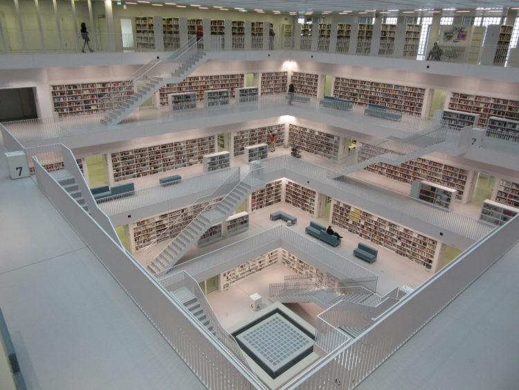 The interior of the Stuttgart Library.