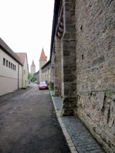 The interior (city) side of the wall. | Walking Along the Wall of Rothenburg ob der Tauber.