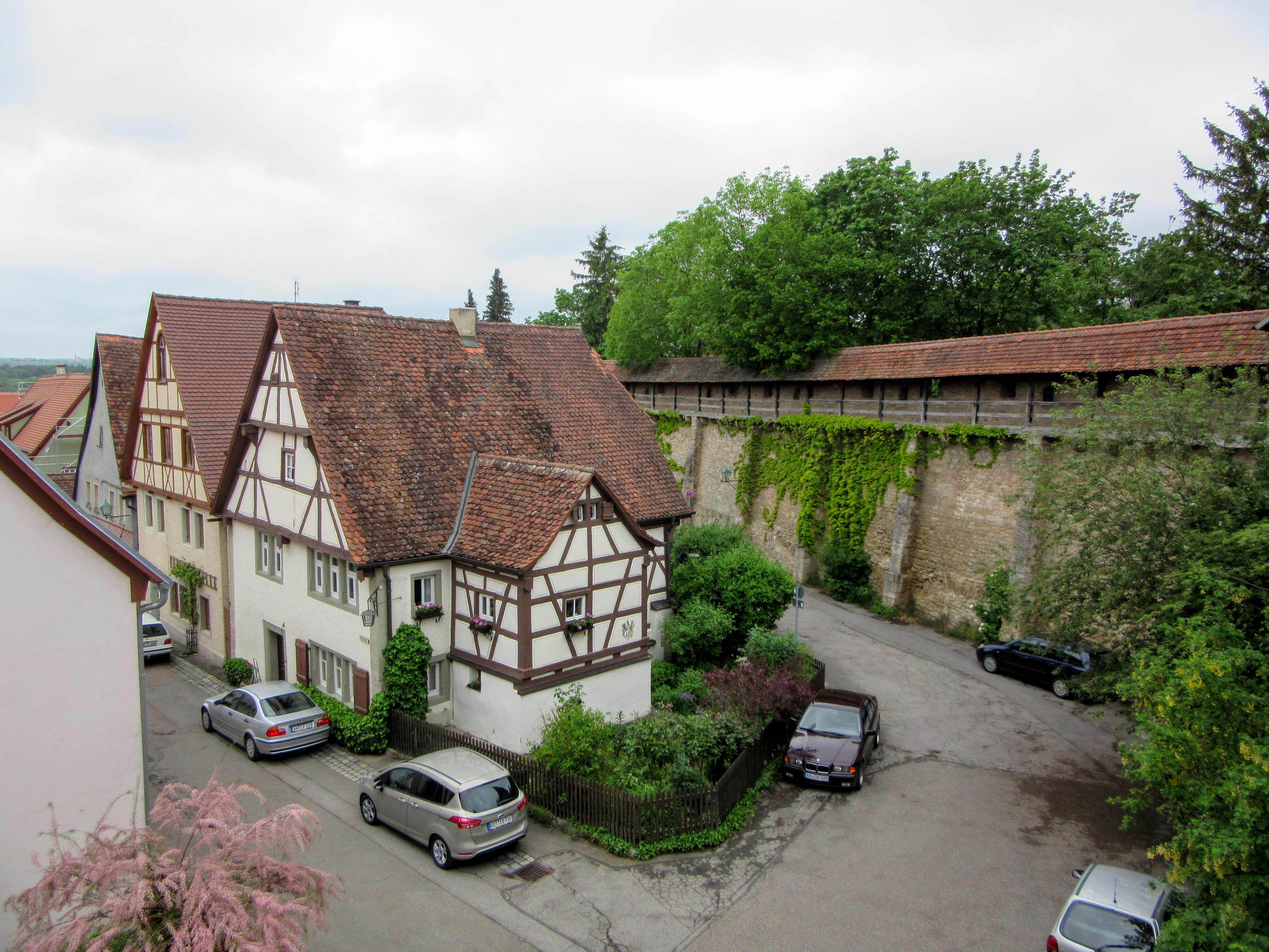 Homes near the wall. | Walking Along the Wall of Rothenburg ob der Tauber.