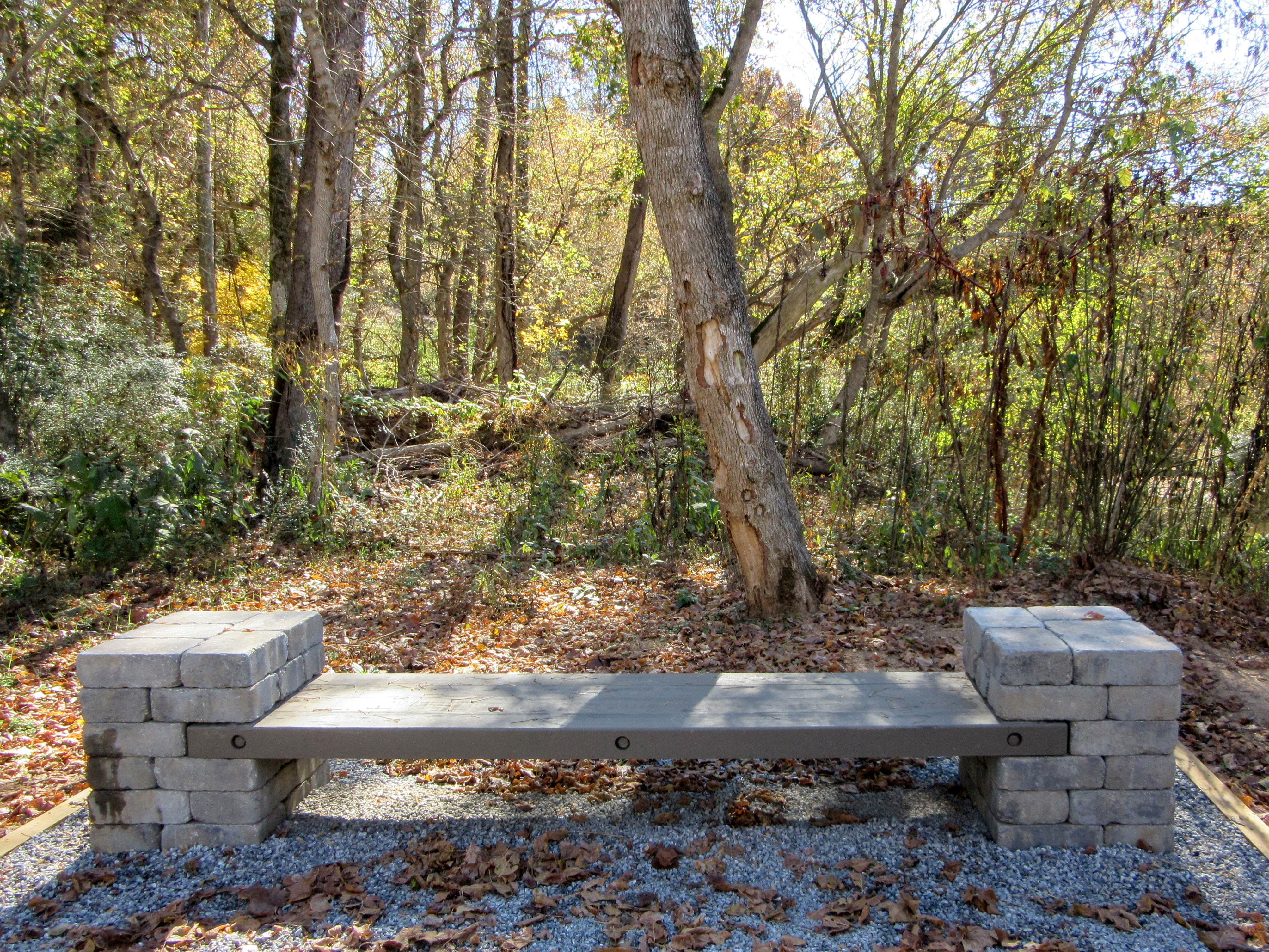 Benches for resting along the trail. | Hiking in Shelby, North Carolina: the First Broad River Trail.