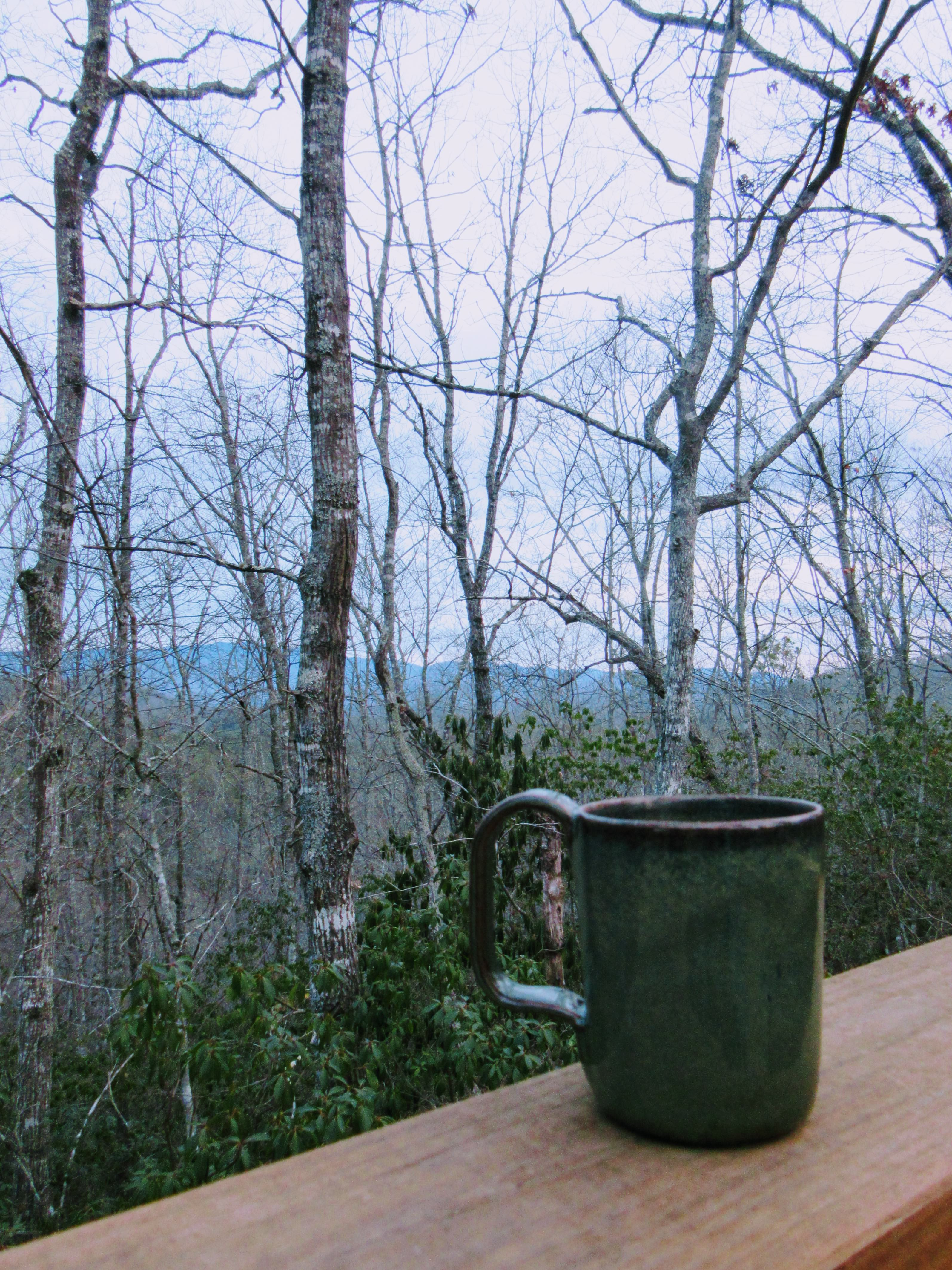 Having coffee on our private deck. | Glamping NC: the Sky Ridge Yurts.