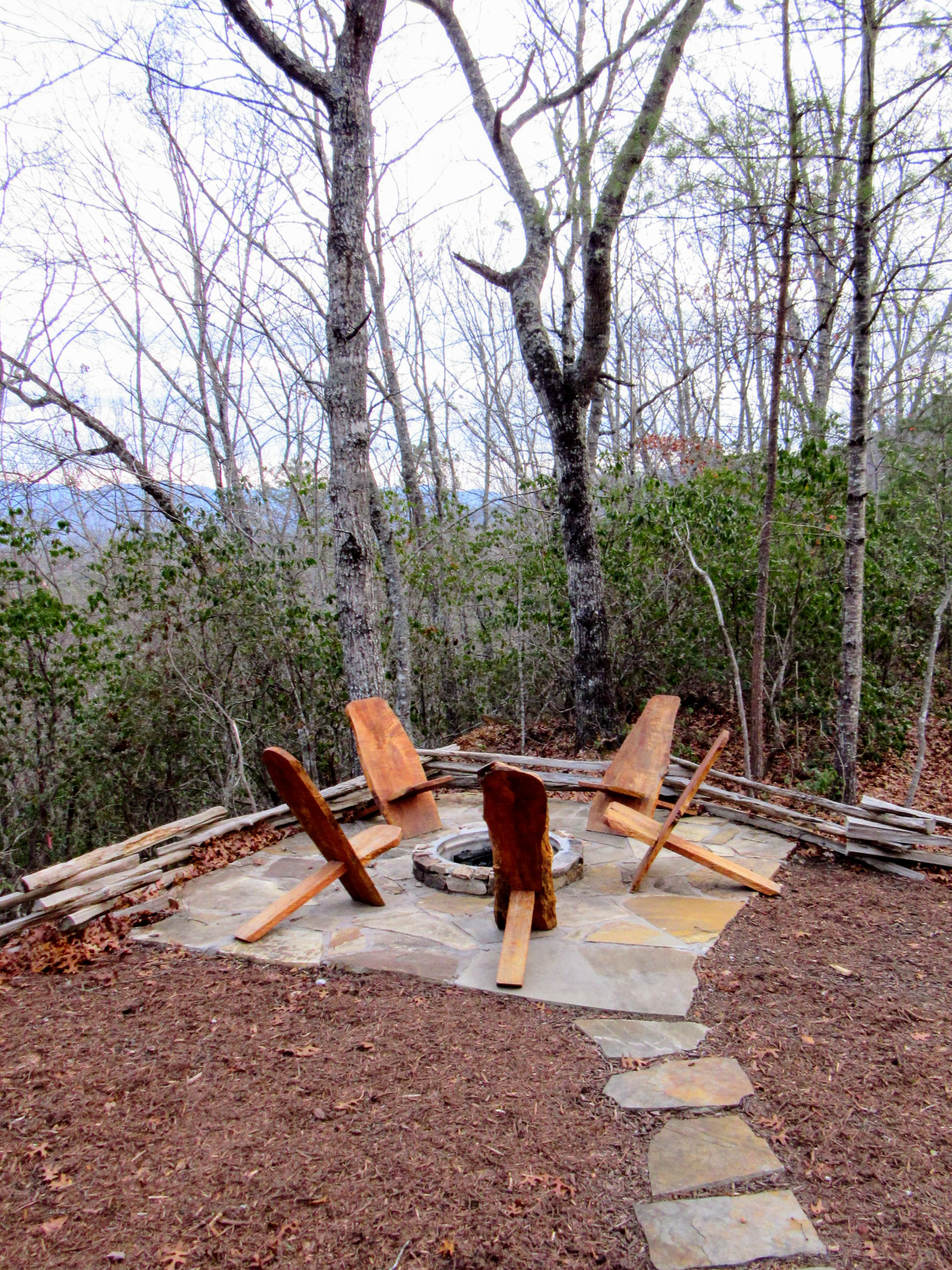 Our private outdoor fire pit. | Glamping NC: the Sky Ridge Yurts.