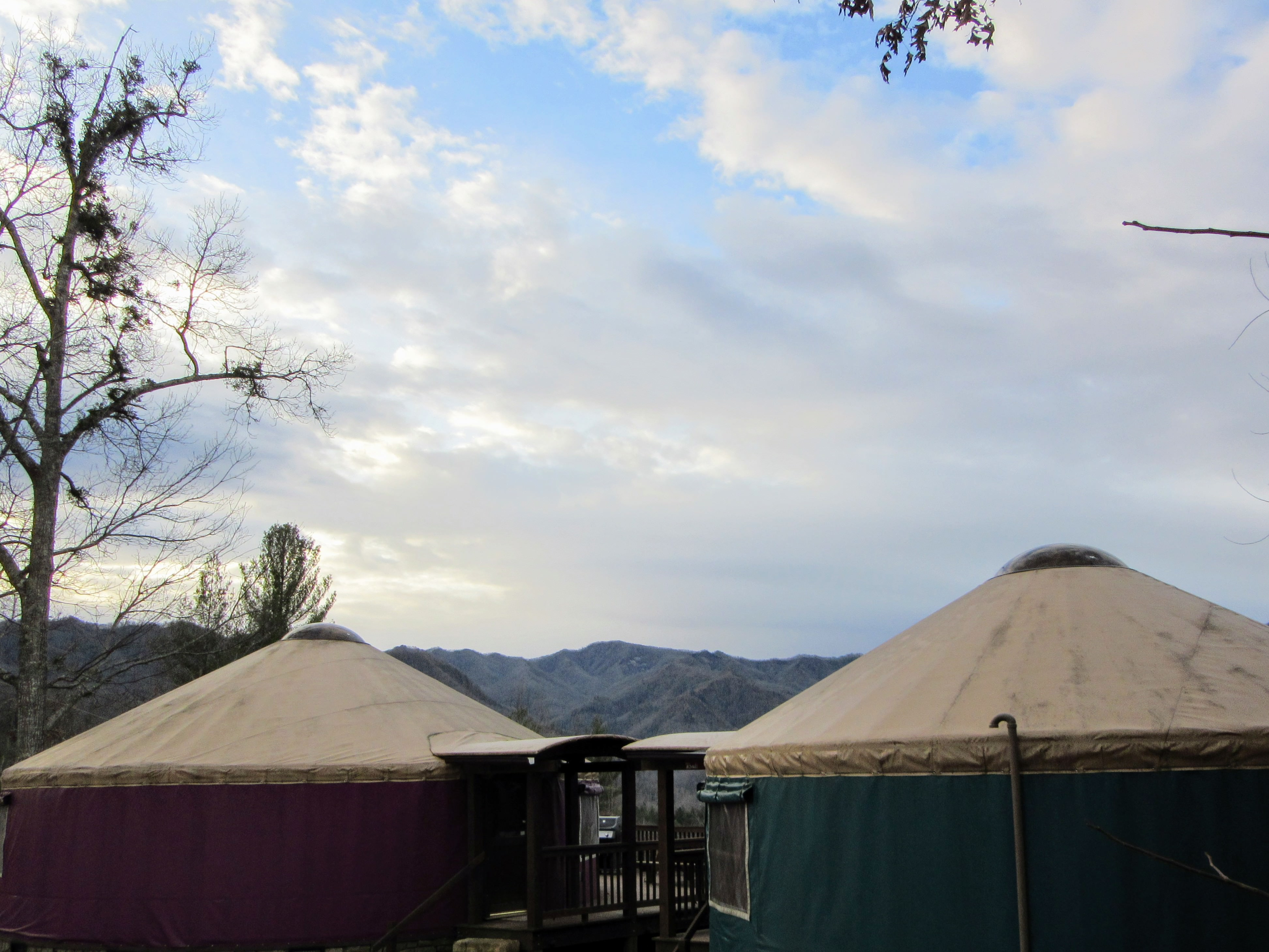 Two larger yurts. | Glamping NC: the Sky Ridge Yurts.