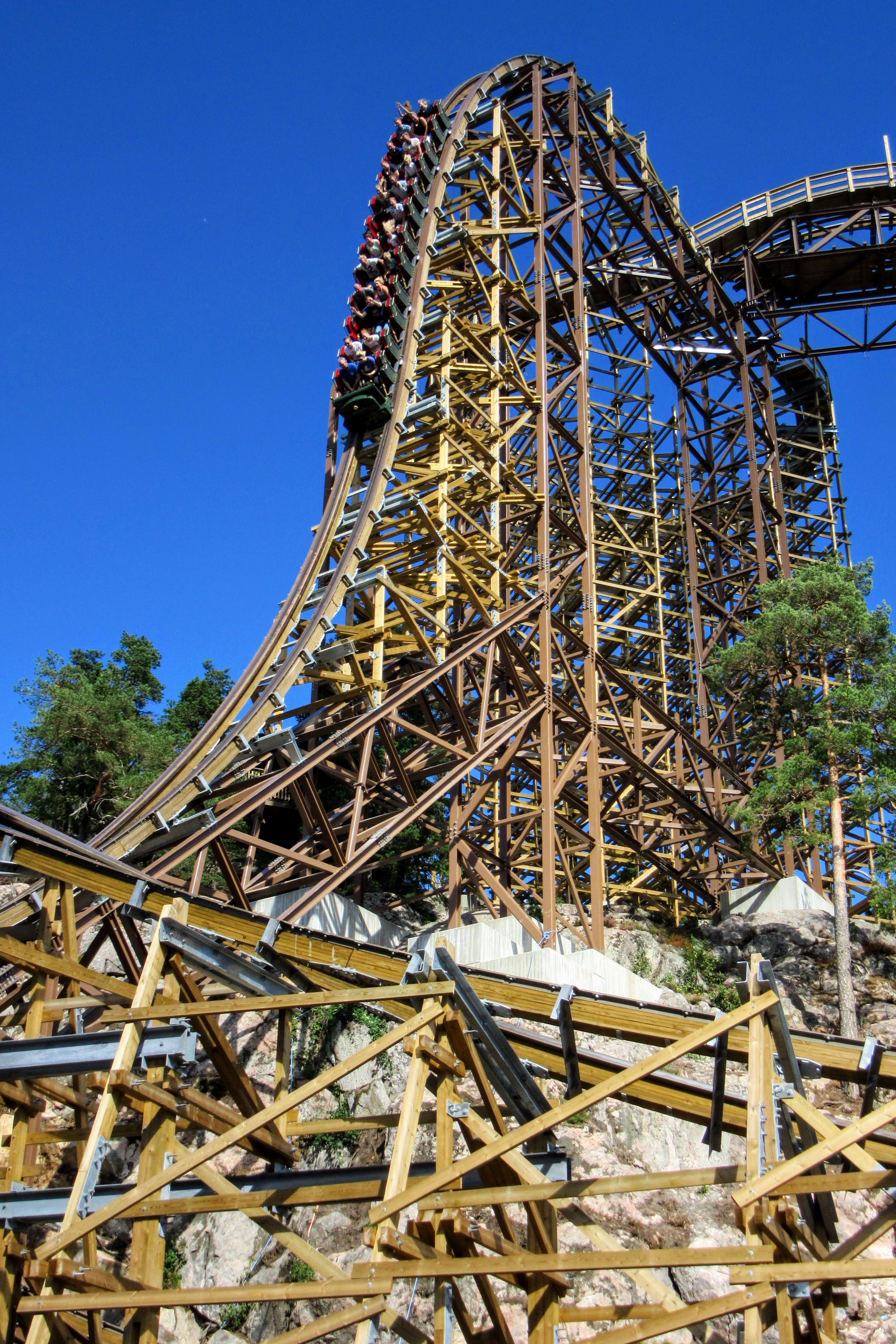 The first drop on Wildfire at Kolmården.