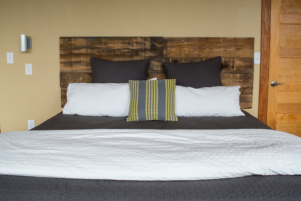 The comfy bed at the Stecoah House.