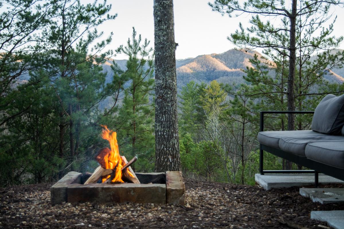 The fire pit. | Luxury cabin rental in North Carolina.