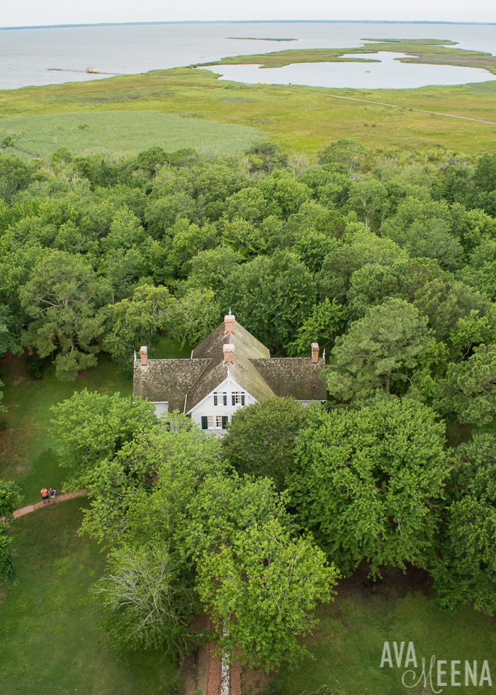 Currituck Beach Lighthouse – looking down at the Keepers' House. | Currituck | Corolla, Outer Banks | Outer Banks Lighthouses | A Guide to the Lighthouses of the OBX, North Carolina | Lighthouses in the Outer Banks | Lighthouses in North Carolina | North Carolina Lighthouses