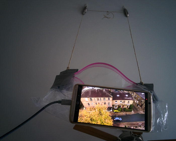 My ugly phone suspension contraption.