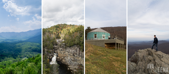 Left to right: driving on the beautiful Blue Ridge Parkway, seeing Linville Falls from across the Gorge, staying at a luxury yurt, and hiking Humpback Rock (Virginia).